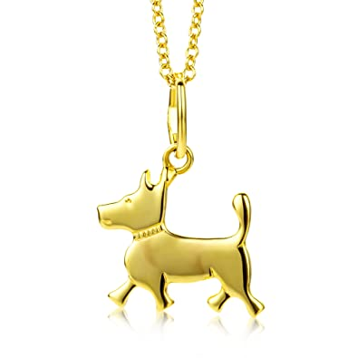 Miore Childrens Gold Necklace 9ct Yellow Gold Dog Pendant 36cm