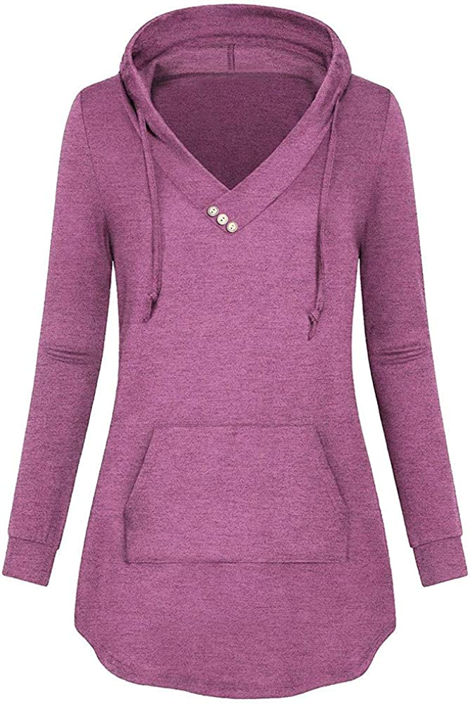 Neck Button Lightweight Pullover Hooded Sweatshirt with Pocket Blouse Blouses for Women,Shirts for Women V