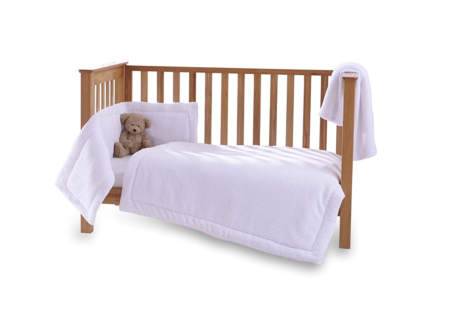 Clair de Lune Honeycomb 3 Piece Cot/Cot Bed Quilt & Bumper Bedding Set - White CL5136