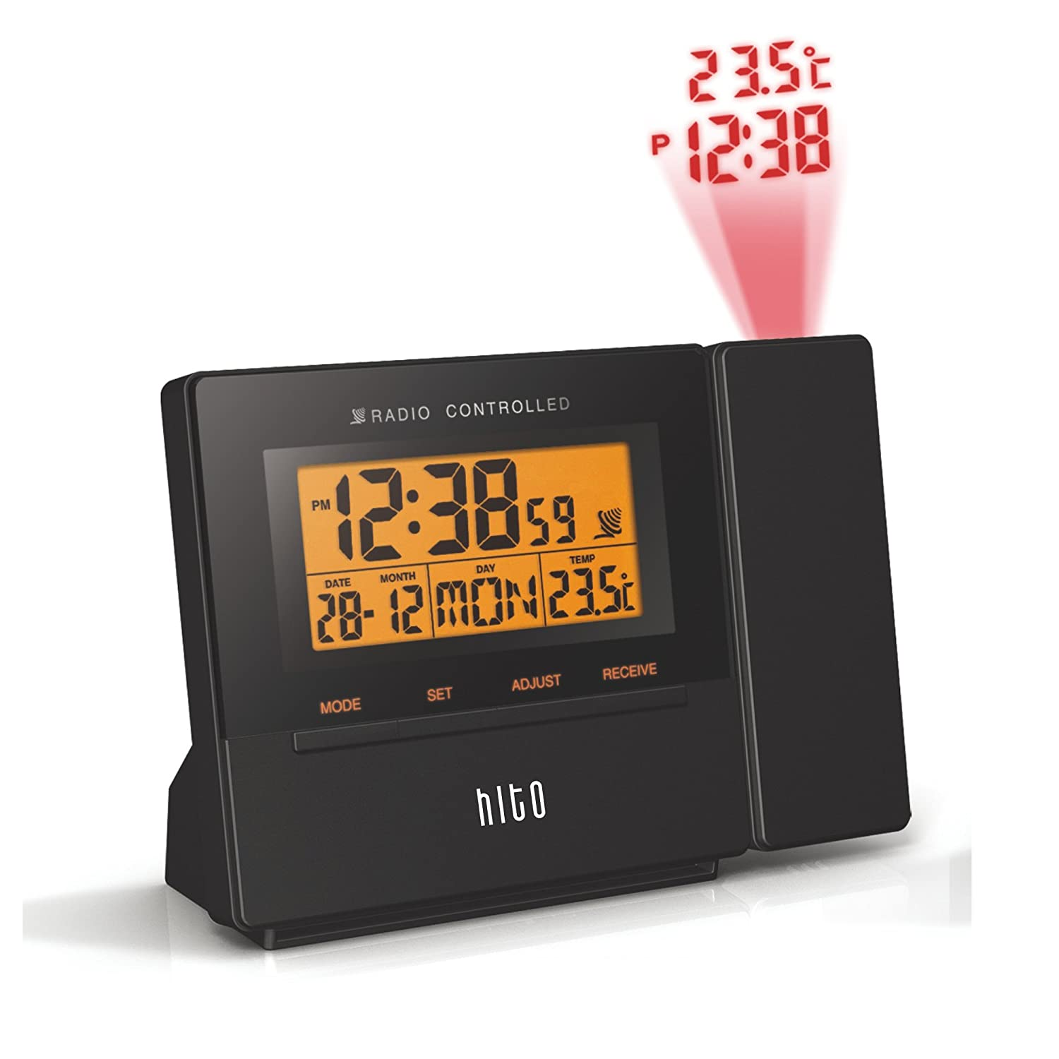hito atomic radio controlled projection alarm clock w date temperature week ebay. Black Bedroom Furniture Sets. Home Design Ideas