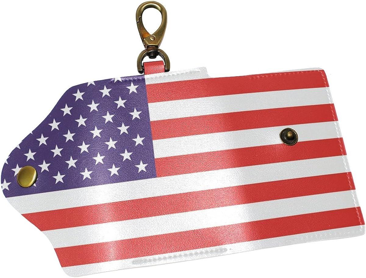DEYYA American Flag Leather Key Case Wallets Unisex Keychain Key Holder with 6 Hooks Snap Closure