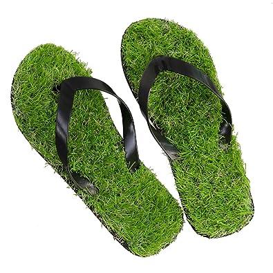 4dea6b73deec GAXmi Flip Flops Women Men Kids Summer Casual Artificial Lawn Grass Slippers  Black