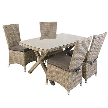 Conjunto de exterior | Mesa 140x80 cm y 4 sillas con faldón | Aluminio y rattán sintético plano color gris | 4 plazas | Cristal templado 5 mm | Portes ...