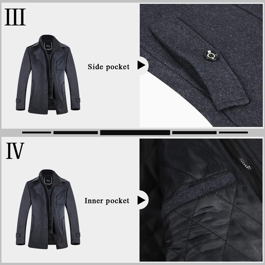 Mens Winter Military Wool Pea Coat Windbreaker Quilted Lining Warm Single Breasted Stylish Jacket