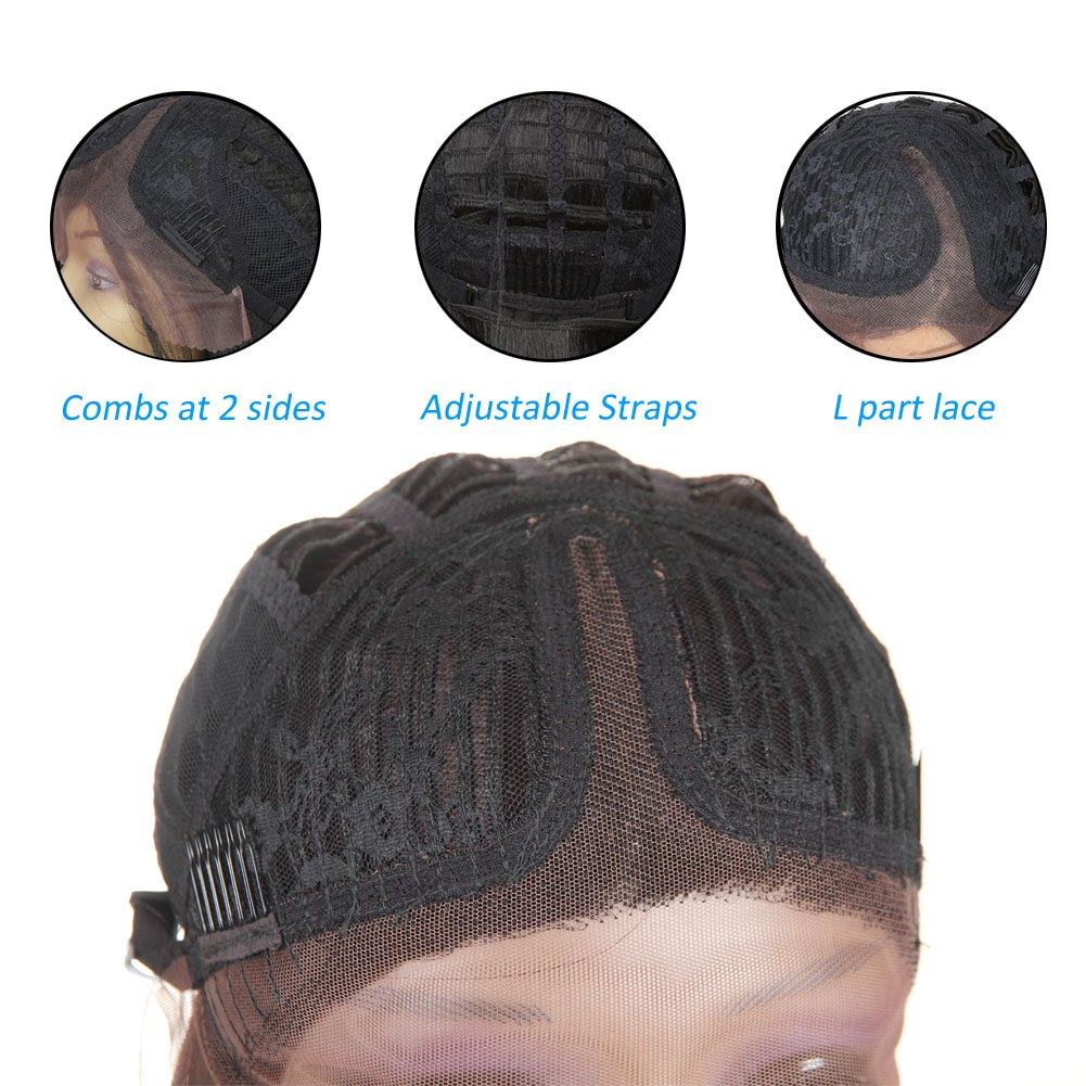 Short Bob Synthetic Lace Front Wigs for Women L Part Black Color Yaki Straight Heat Resistant Fiber Black Hair Wig (1B) by HUA (Image #7)