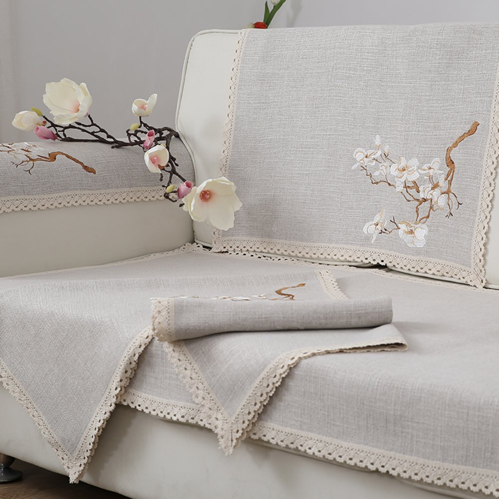Sofa slipcover,Linen anti-slip dust-proof cover cloth couch sofa towel cover protector multi-size quilted embroidered reversible cushion cover bay window cushion,Sill pad-gray 110x150cm(43x59inch)