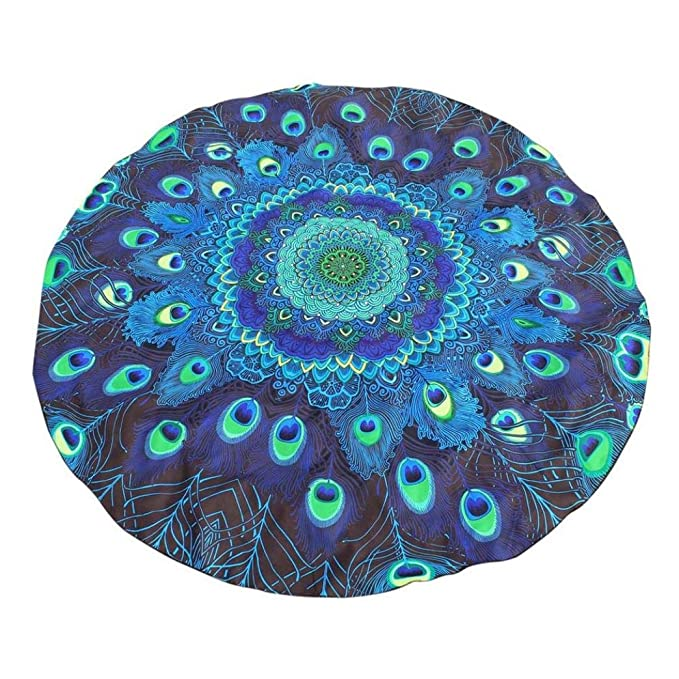 Manteles Impresión redonda Hippie Tapestry Beach Picnic Throw Yoga Mat Toalla de toalla Tapete de playa Colcha Beach Throw - Toalla con cojín Decoración del ...