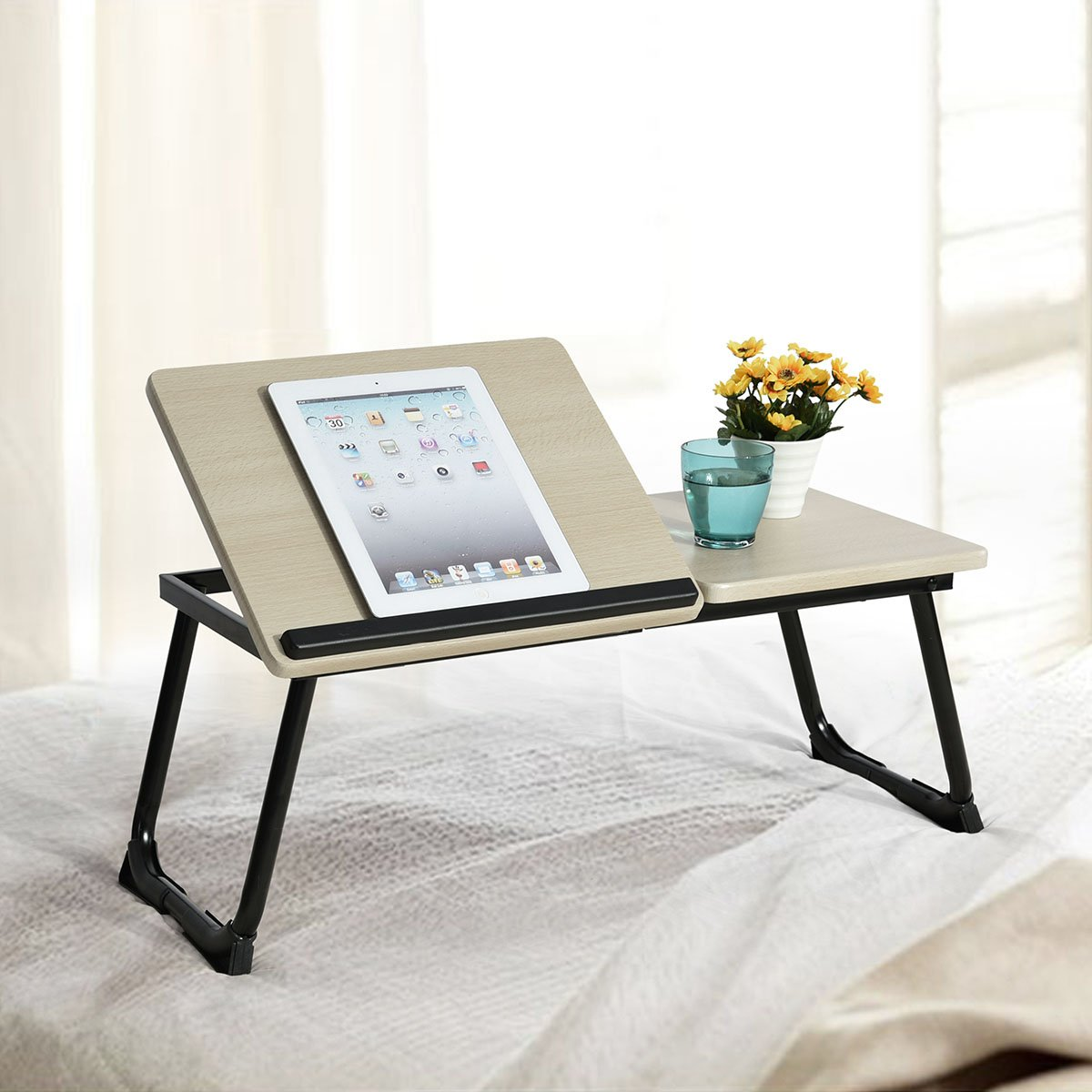 "Foldable Laptop Desk Ihouse Portable Desk Bed Folding Computer Table with Anti-Slip Bar Suits for Ipad 14-17"" Notebook Black"