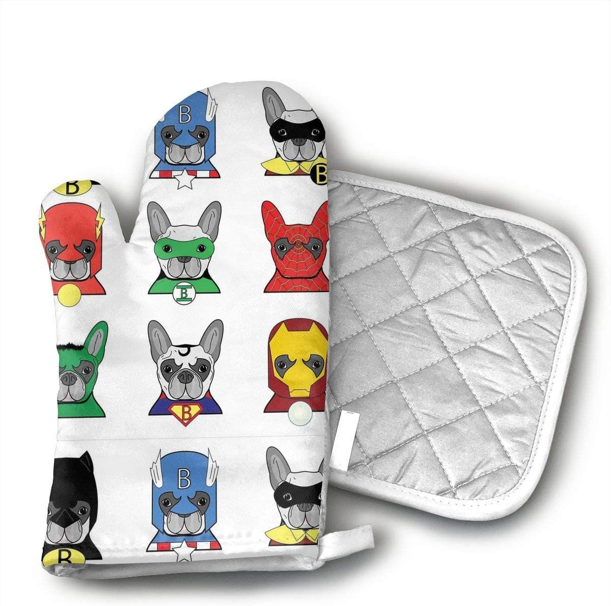 Niwaww Superhero Bulldog Fun Cartoon Puppies Oven Mitts,Professional Heat Resistant Microwave BBQ Oven Insulation Thickening Cotton Gloves Baking Pot Mitts Soft Inner Lining Kitchen Cooking