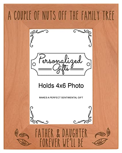 ThisWear Dad Daughter Picture Frame Father & Daughter Forever We'll Be Dad  Birth Announcement Gifts Natural Wood Engraved 4x6 Portrait Picture Frame