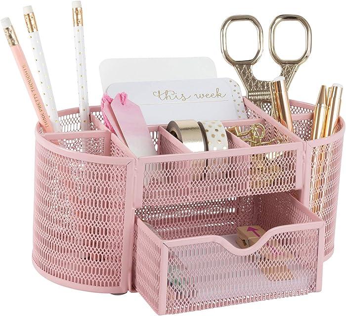 Pink Desk Organizer - Girlie Desk Accessories - Strong Metal Construction - Office Supply Storage for Home or Office - Desk Organizer Pink - Light Pink Desk Accessories