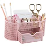 Pink Desk Organizer - Girlie Desk Accessories - Strong Metal Construction - Office Supply Storage for Home or Office…