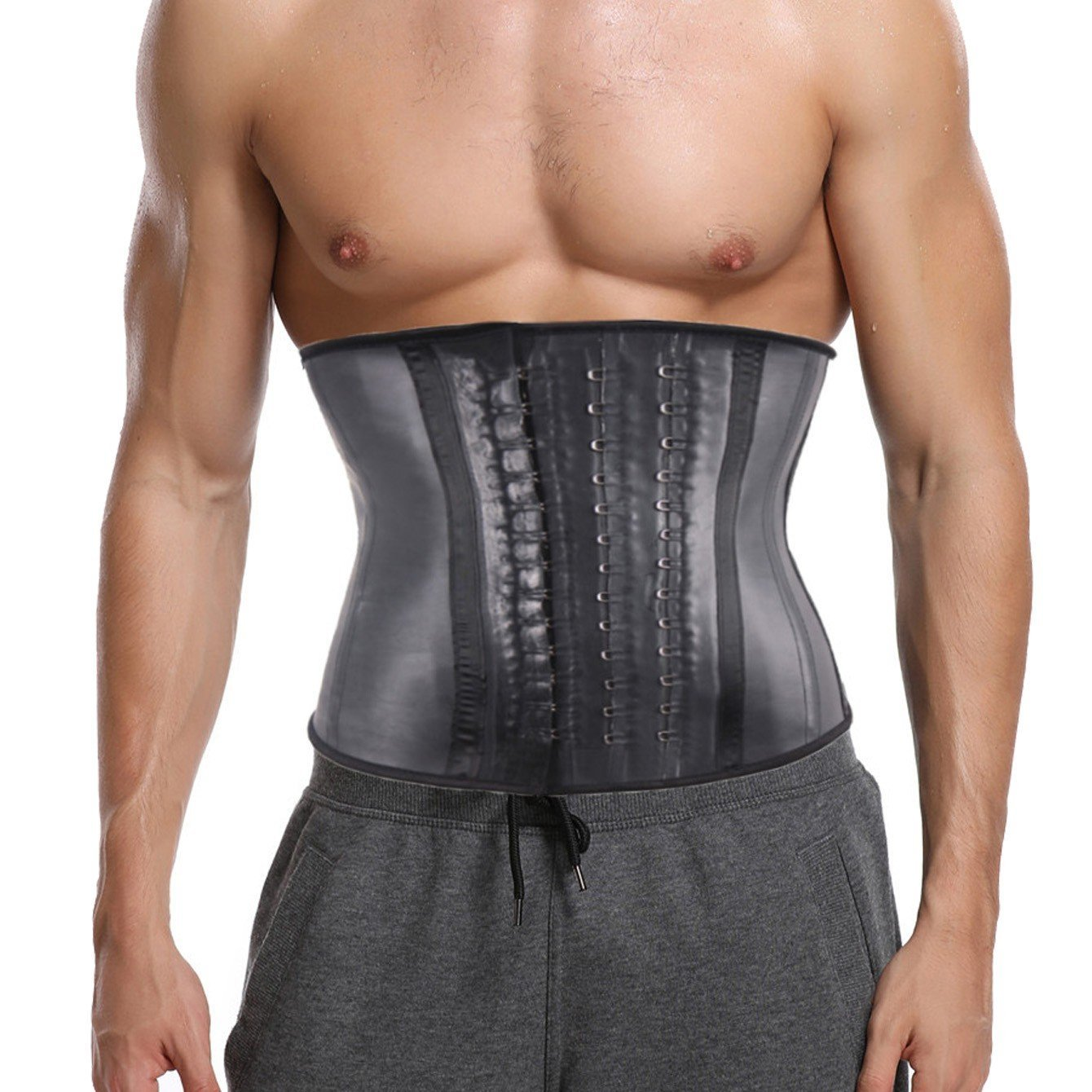 CROSS1946 Men's 100% Latex Waist Trainer Fitness Sweat Workout for Weight Loss Steel Bones Underbust Corset