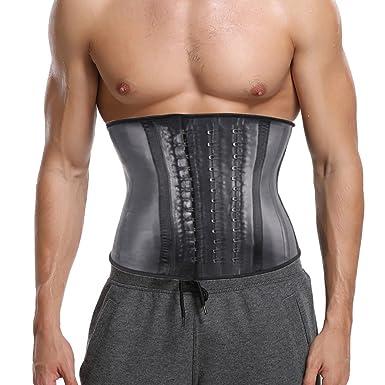 c333cfa945 Amazon.com  CROSS1946 Men s 100% Latex Waist Trainer Fitness Sweat Workout  for Weight Loss Steel Bones Underbust Corset  Clothing