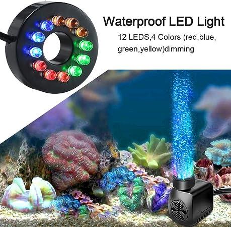 SunTop Mini Aomba de Agua con Leds, Bomba Sumergible con 12 Luz de ...