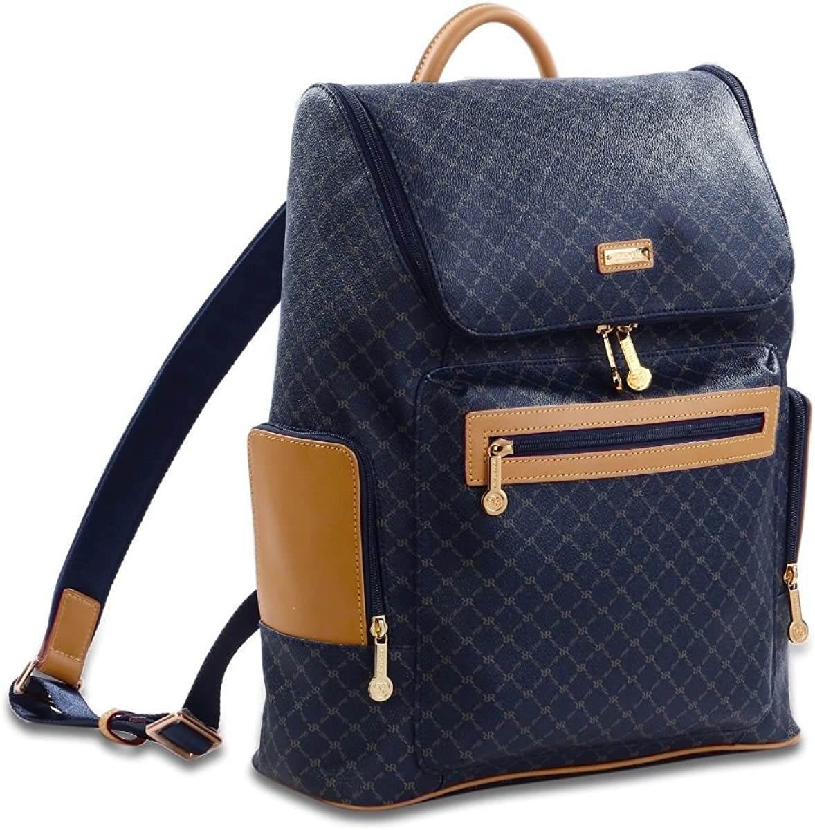 Rioni Cambridge Top Loading Travel Daypack Backpack Signature Navy