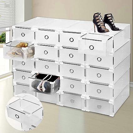 WJGJ 20 Cajas para Zapatos Transparente Plástico,Caja De Almacenamiento De Zapatos Caja De Zapatos De Plástico Plegable Apilable Gabinete De Soporte Organizador Transparente Caja Transparente: Amazon.es: Hogar