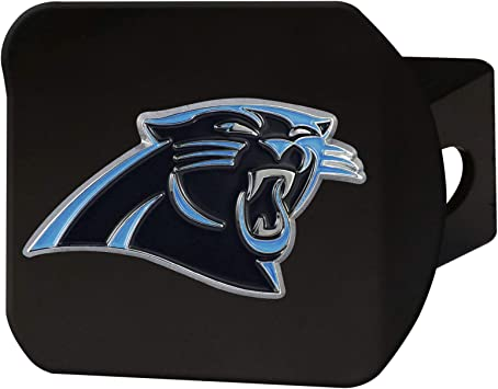 Black 2 Square Type III Hitch Cover FANMATS NFL Carolina Panthers Metal Hitch Cover