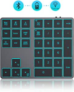 Wireless Bluetooth Backlit Numeric Keypad, Jelly Comb Rechargeable Number Pad Keyboard with 34 Keys for PC/Laptop/MacBook/iMac/Surface Pro, Win/Mac OS, Space Gray