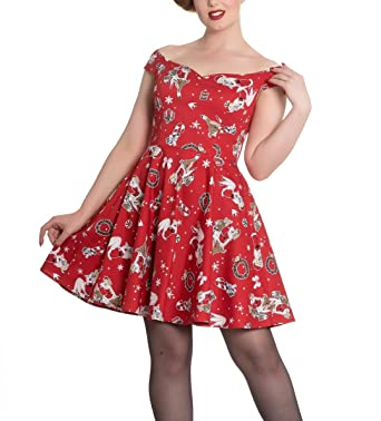 2ffc0a8f8395 Hell Bunny Rockabilly Festive Noel Christmas Mini Dress Blitzen Red XL 16:  Amazon.co.uk: Clothing