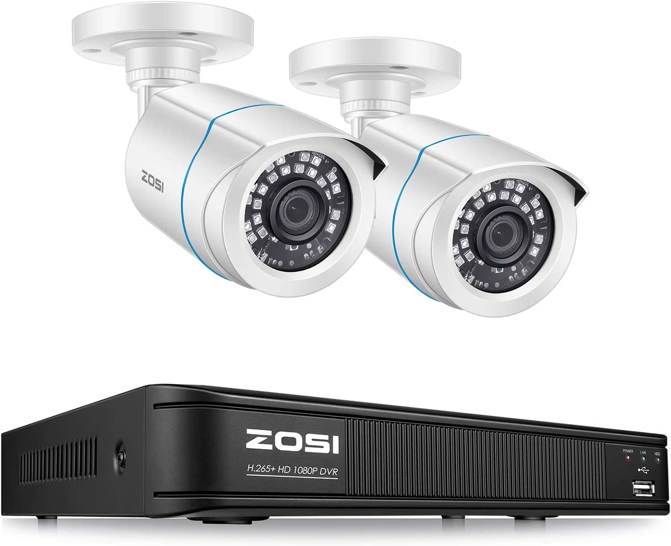 ZOSI H.265+ 1080P Home Security Camera System, 4 Channel Security DVR Recorder and (2) 1080p Weatherproof Bullet Camera Outdoor/Indoor, Remote Access, Motion Detection (No Hard Drive)