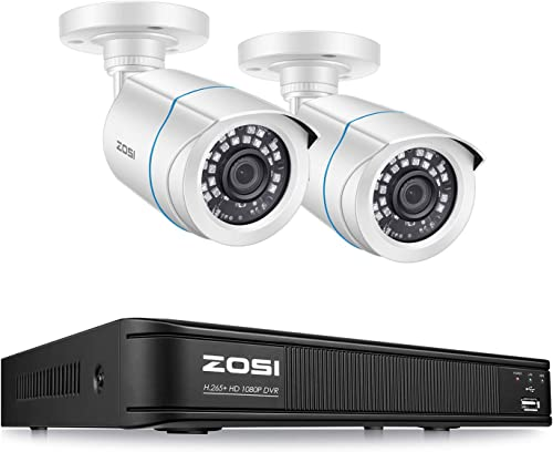 ZOSI H.265 1080P Home Security Camera System, 4 Channel Security DVR Recorder and 2 1080p Weatherproof Bullet Camera Outdoor Indoor, Remote Access, Motion Detection No Hard Drive