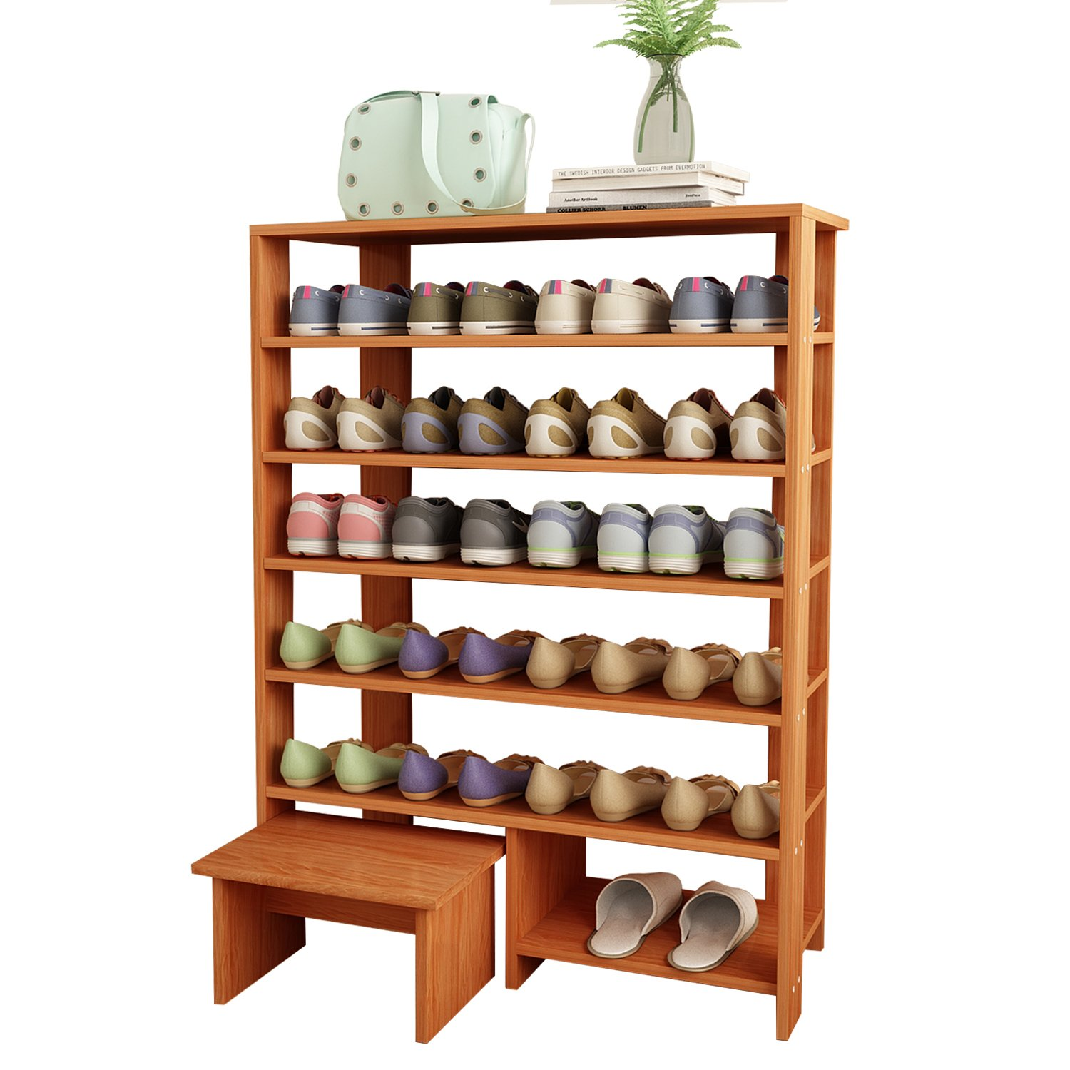 Jerry & Maggie - 6 Tier Wood MDF Solid Shelf Shoe Rack with One Footstool/Shoe Storage Shelves Free Standing Flat Shoe Racks Classic Style -100% Multi Function Shelf Organizer - Natural Wood Tone