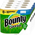 Bounty Quick-Size Paper Towels, White, 8 Family Rolls = 20 Regular