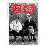 NobleWorks, Men Stiff Joints - Hilarious Happy Birthday Card with Envelope - Old Man Birthdays, Smoking Stoned Grandpas - Fun
