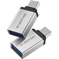LENTION USB C to USB 3.0 Adapter (2 Pack), Type C Male to Type A Female OTG Converter Compatible 2020-2016 MacBook Pro, New iPad Pro/Mac Air/Surface, Chromebook, Phone/Tablet, More (CB-C3, Silver)