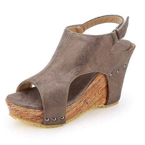 0276512954a5f Sandalias Mujer Cuña Alpargatas Plataforma Bohemias Romanas Mares Playa  Gladiador Verano Tacon Planas Zapatos Zapatillas Beige Negro 34-43   Amazon.es  ...