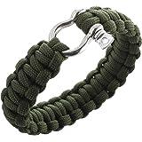 Bracelet paracord 550 avec la survie d'étrave inox manille - Vert Olive Drab
