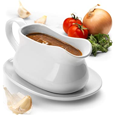 KooK Gravy Boat and Tray, Ceramic Make, 17oz, White