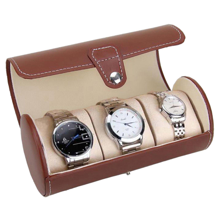 Watch Box 3 Slots Watch Case PU Leather Watch Box Organizer for Men Women Travel Jewelry Storage Case Organizer Brown