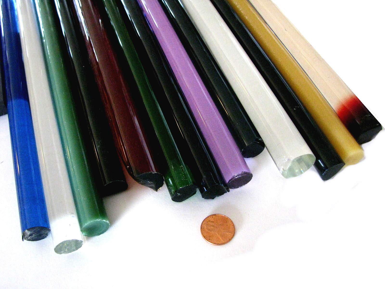 Devardi Glass Boro Extra Thick Solid Rods, COE 33, Mixed Colors, 5 lbs borosilicate by Devardi Glass