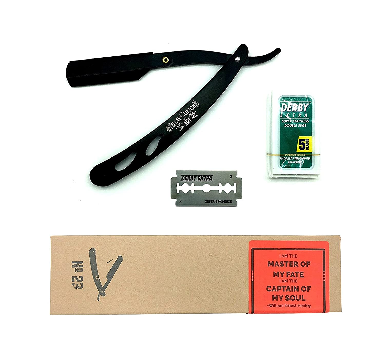 Straight Razor Kit No 23 by Tellar Clifton | Barber Razor Knife, Shavette, Straight Edge Razor | Black