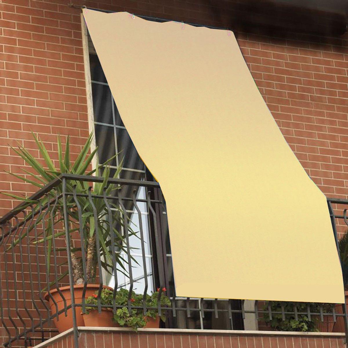 Tenda da sole per esterno tinta unita VERDE con anelli per balcone ...
