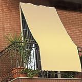 Coppia tende da sole per esterno tinta unita con anelli per balcone, terrazzo, casa - Cm 150x250 - Panna