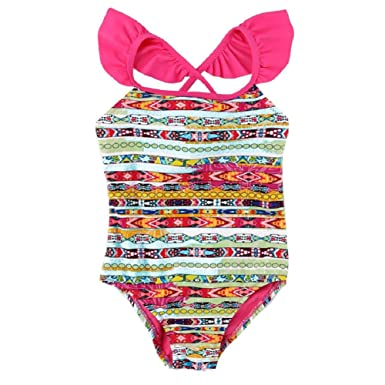 892067b580d Jessica Simpson Girls 4-6X Striped Swimsuit With Ruffled Shoulders (6,  Multi)