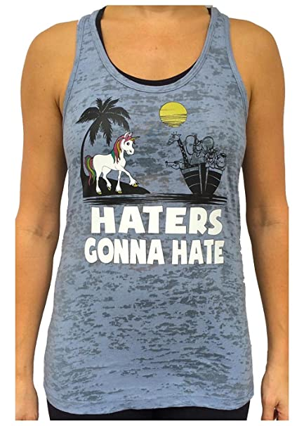 9081bcb82b348a Amazon.com  SoRock Women s Unicorn Hater Burnout Tank Top Grey  Clothing