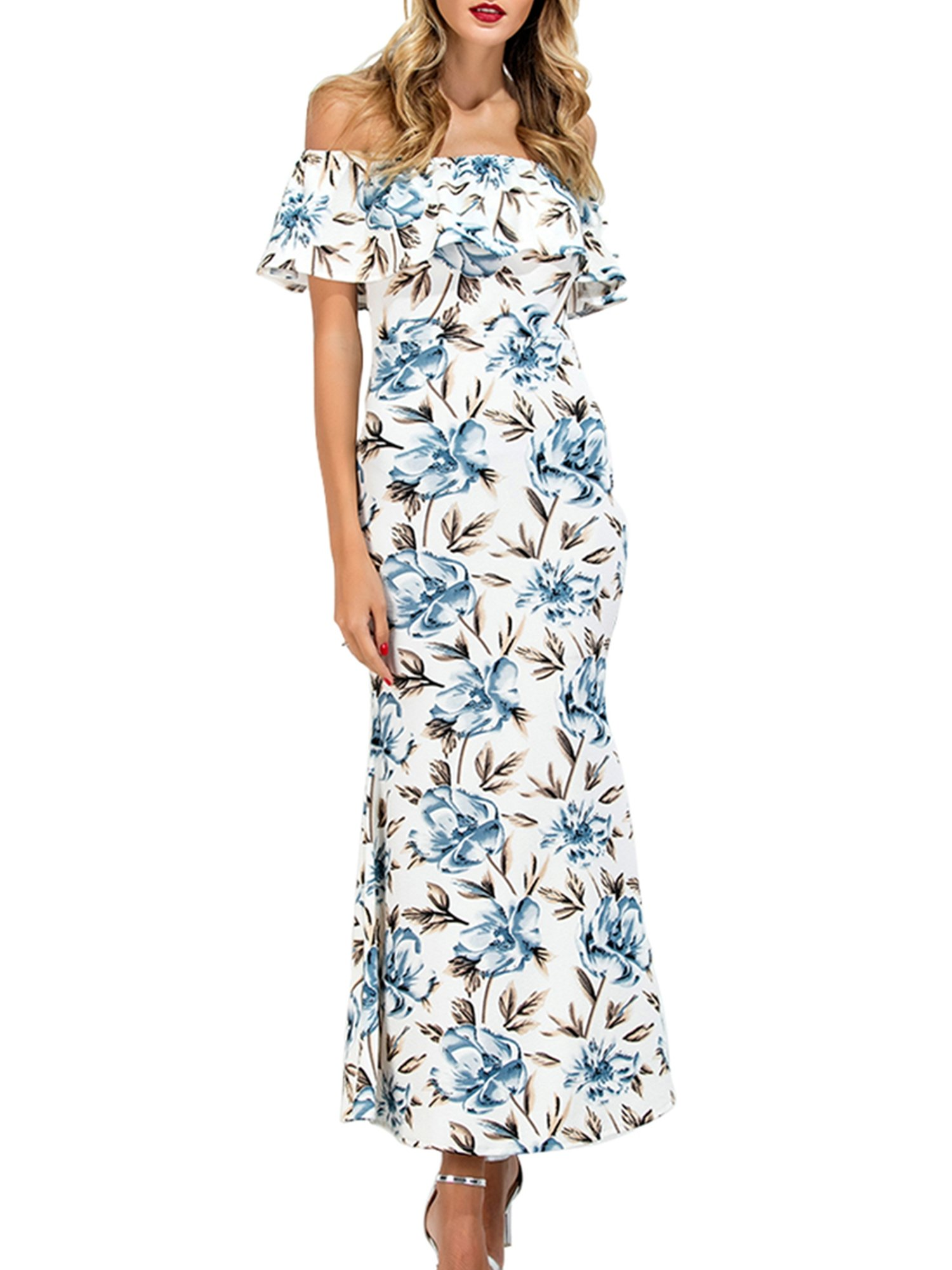 CHIC DIARY Women\'s Floral Printed Off Shoulder Ruffle Maxi Long Dress (M)