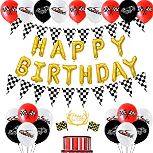 SHERONV Racing Car Birthday Decorations Kit for Kids, Race Car Party Supplies with Gold Happy Birthday Balloon Banner, Racing Car Balloons, Checkered Flags, Cake Topper for Cars Theme Birthday Party