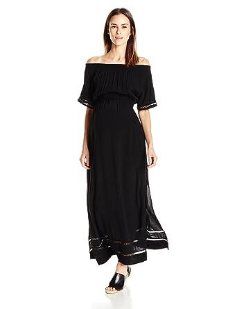 510adee76de Ripe Maternity Women s Maternity Cold Shoulder Maxi Dress at Amazon ...