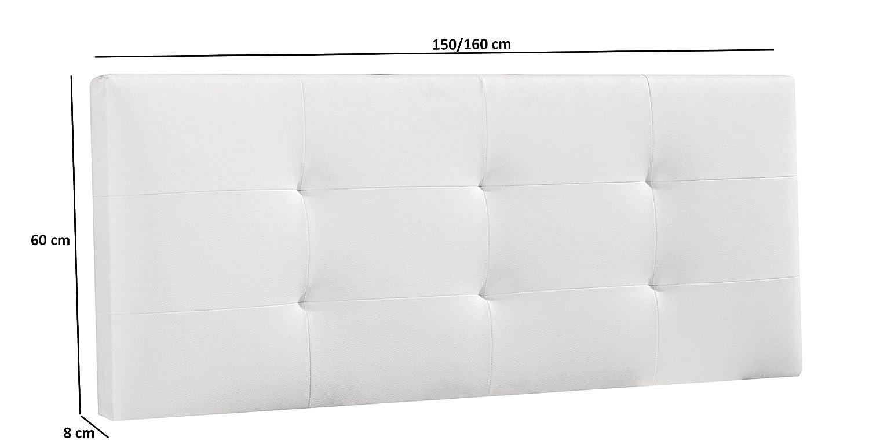 Cabecero/Cabezal tapizado Carla 160X60 Blanco, Acolchado con Espuma, 8 cm de Grosor, Incluye herrajes para Colgar: Amazon.es: Hogar
