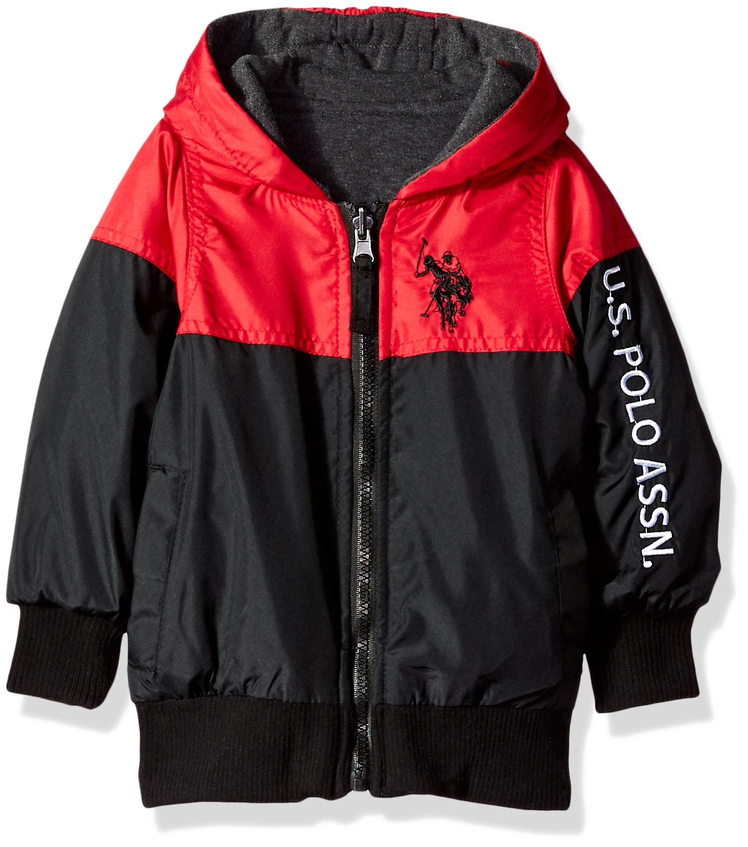 US Polo Association Boys Midweight Bubble Jacket, Black/Red, 14/16