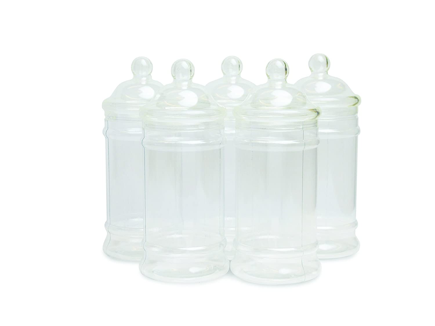 5x Boutique Sweet Jars with Lids, Plastic Victorian, Retro Jar by Oipps NBM