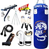 3ft Heavy Filled 15 Pieces Boxing Punch Bag Gloves Bracket Punching Gloves for Training Kickboxing MMA Pad