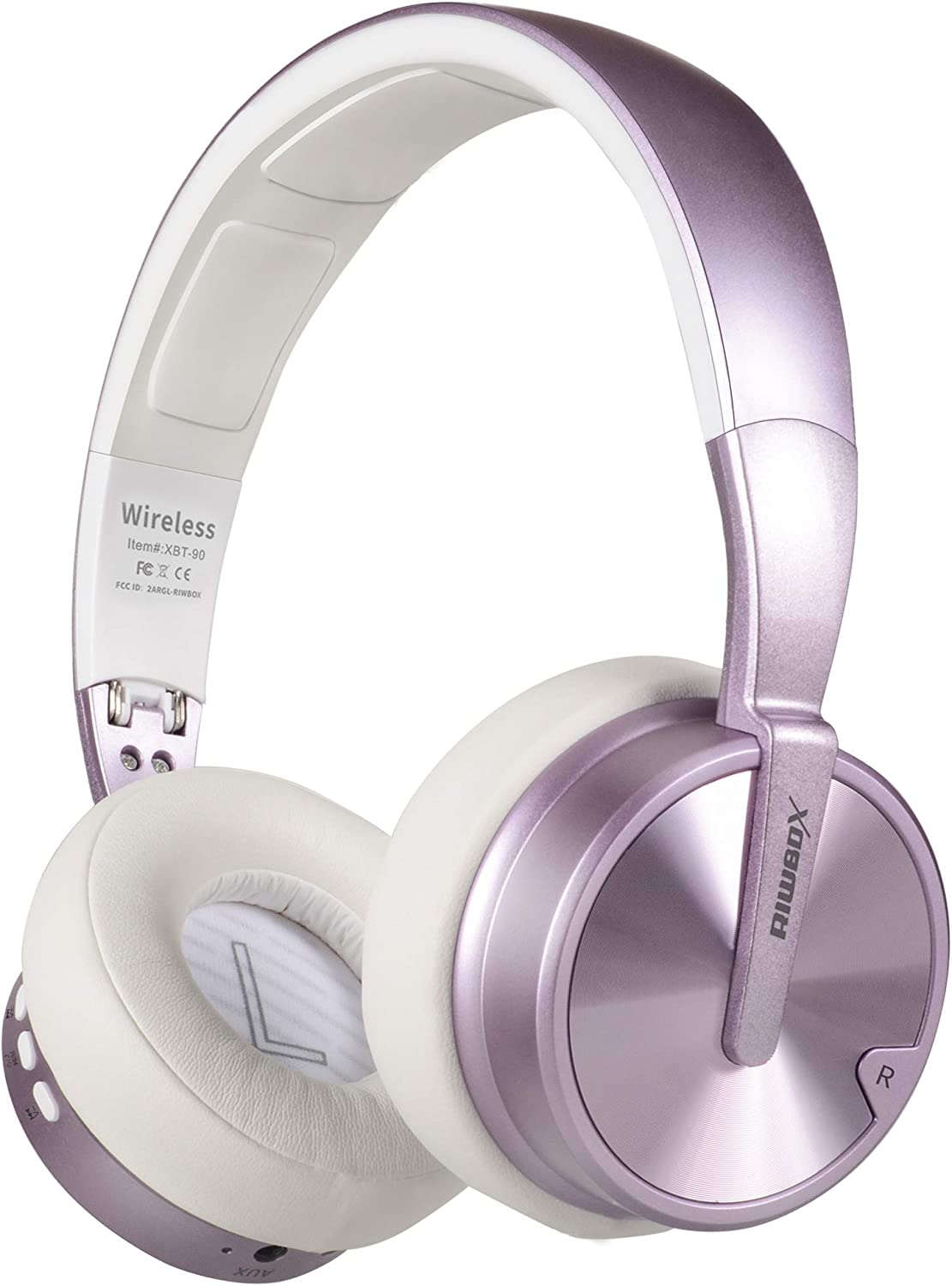 Bluetooth Headphones, Riwbox XBT-90 Foldable Wireless Bluetooth Headphones Over Ear Hi-Fi Stereo Wireless Headset with Mic TF Card and Volume Control Compatible for PC Cell Phones TV ipad Purple