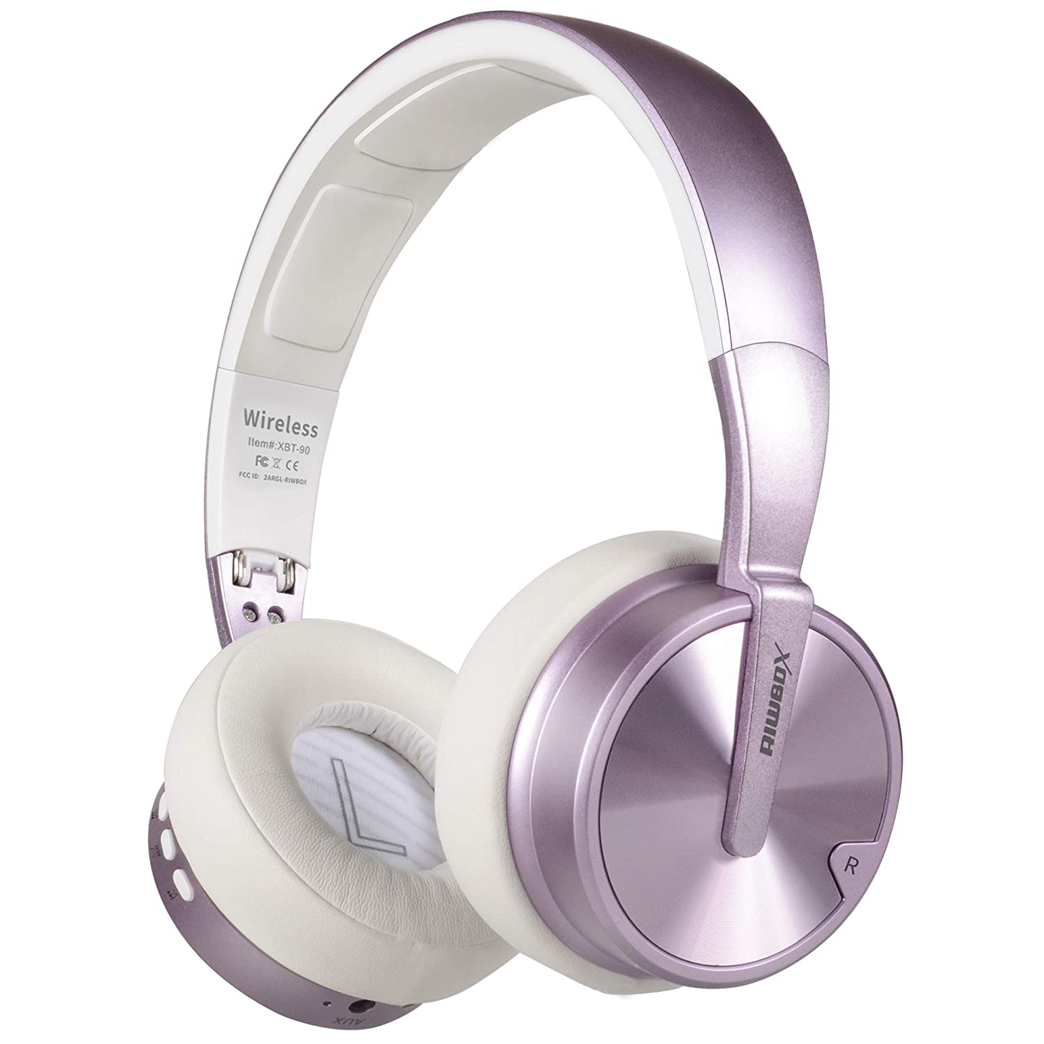 Bluetooth Headphones, Riwbox XBT-90 Foldable Wireless Bluetooth Headphones Over Ear Hi-Fi Stereo Wireless Headset with Mic/TF Card and Volume Control Compatible for PC/Cell Phones/TV/ipad (Purple)
