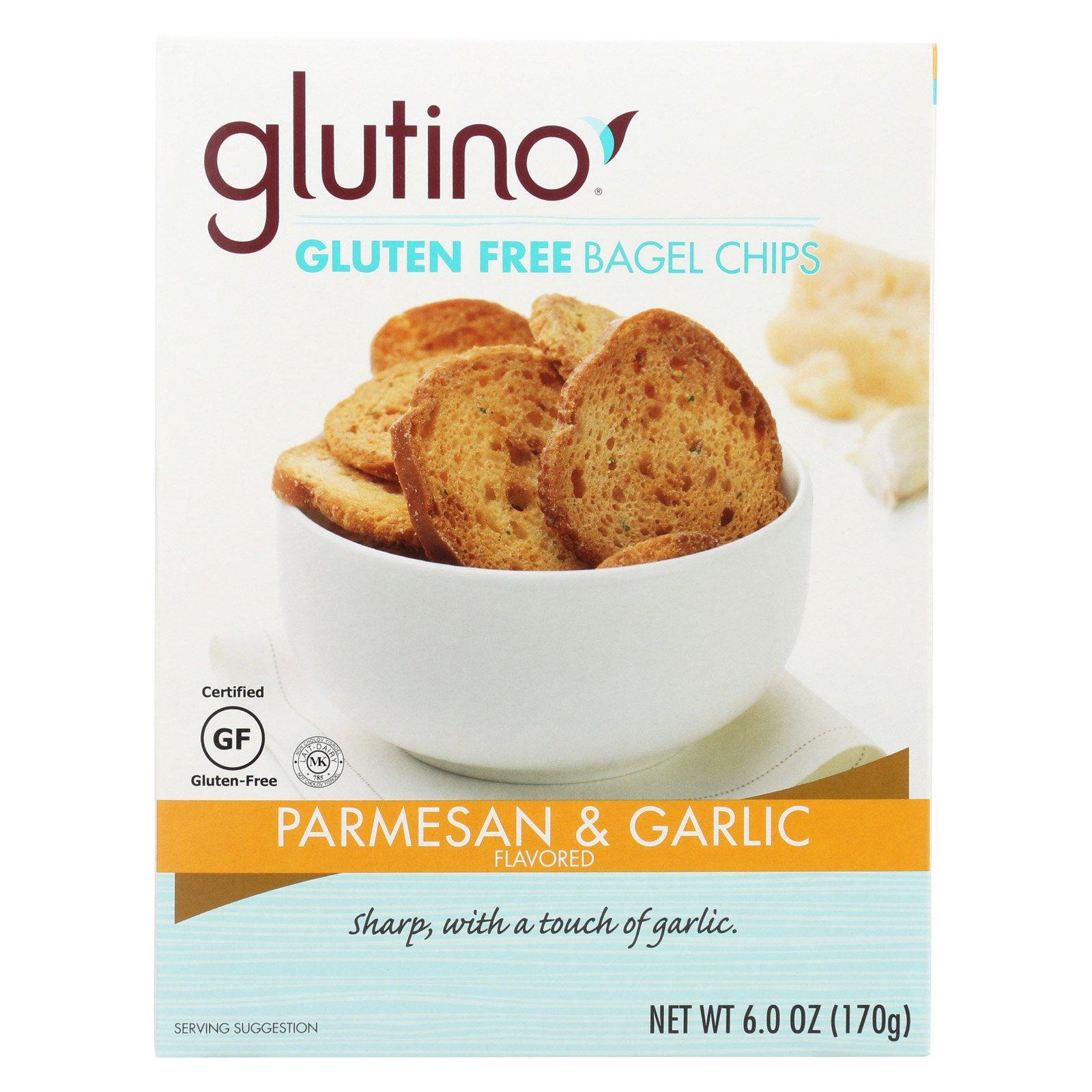 Glutino Parmesan Bagel Chips - Garlic - Case of 6 - 6 oz. by Glutino